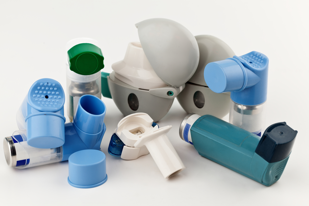 Close-up of asthma inhalers